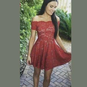Dresses & Skirts - Red Lace Off the Shoulder Formal Prom Dress